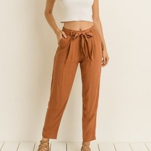 Pants - Rust Belted Waist Tie Trousers